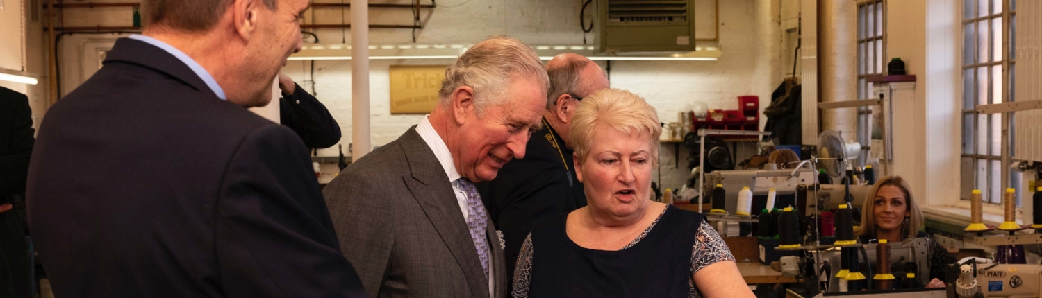 Prince Charles visits the Boot and Shoe industry in Northampton